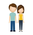 silhouette colorful of couple without face vector image
