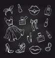 sketch of fashion elements on chalkboard vector image vector image