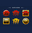 slots 777 app icon glossy objects for asset game vector image