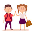 small boy with backpack and pretty girl with bag vector image
