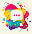 Speech bubble on abstract colorful spotted vector image