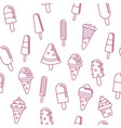 sweet ice cream in linear design seamless pattern vector image