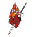 Sword in the heart vector image vector image