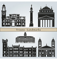 Trieste landmarks and monuments vector image vector image