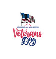 veterans day hand lettering with usa flag vector image
