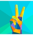 Victory hand geometrical style vector image
