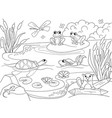 wetland landscape with animals coloring for vector image vector image