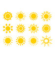 yellow sun icon set orange summer spring sunshine vector image vector image
