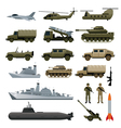 Military Vehicles Object Set Side View vector image