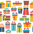 seamless pattern with colorful gift boxes vector image