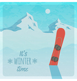 retro with snowy mountains and snowboard vector image