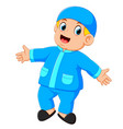a boy is standing and dancing with blue clothes vector image vector image