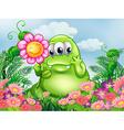 A fat green monster in the garden vector image vector image