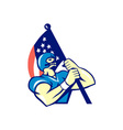 American Football Player Holding Flag Retro vector image vector image