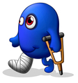 An injured blue monster vector image