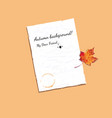 autumn frame with blank sheet of paper and maple vector image vector image