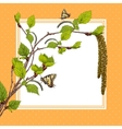 Background with birch branches and butterflies vector image