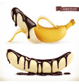banana in chocolate 3d realistic icon vector image vector image