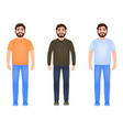 bearded man dressed in jeans t-shirt sweater and vector image vector image