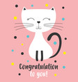 birthday card with white cat vector image vector image