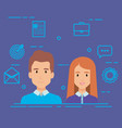 business couple with social media marketing icons vector image