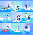 businessman people on paper boats vector image vector image