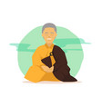 cartoon buddhist monk in meditation poses with vector image vector image