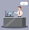 cashier at the checkout counter with cash register vector image