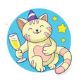 cat celebrating with glass champagne vector image