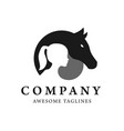 child and horse silhouette logo vector image