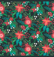 christmas seamless pattern with flowers vector image vector image