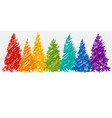 christmas trees in rainbow colors vector image vector image