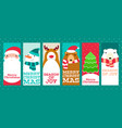 collection of christmas banners with cute animals vector image