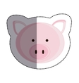 color sticker with pig head and middle shadow vector image vector image