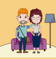 cute and funny couple cartoons vector image