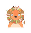 cute animal wearing traditional tribal headdress vector image vector image