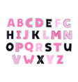 cute kids alphabet pink and dark blue colors vector image