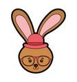 cute vintage rabbit face vector image vector image