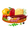 delicious cheese and salami slices in spices with vector image vector image