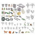 Different kinds of garbage in forests and wildlife vector image