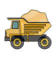 dump truck with rocks on color crayon silhouette vector image vector image
