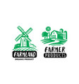 farm emblems with mill and barn vector image