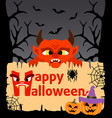 Halloween background card with devil