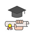 hand holding diploma certificate and square vector image vector image