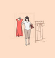 hard choice and fitting room concept vector image