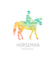 horseman on sports horse silhouette logo design vector image