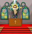 Jesus figure in the church vector image vector image