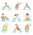 Kids Playing Music Instruments With Rainbow And vector image vector image