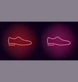 neon man shoe in red and pink color vector image