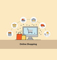 online shopping concept infographic design vector image vector image